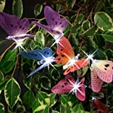 Buri Solar LED-Lichterkette 10 Schmetterlinge Gartendekoration Beleuchtung 180cm
