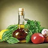 Artland Qualität I Glas Küchenrückwand ESG Spritzschutz Küche 60 x 60 cm Gemüse Foto Grün F1NO Gesundes Gemüse und Olivenöl - Zitrone Tomate Möhre Knoblauch Basilikum Gewürze