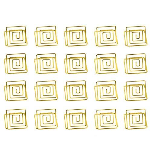 (REFURBISHHOUSE Draht Form Platz für Kartenhalter St?nder, Tabellennummer Halter, Papier Menü Bild Memo Hinweis Foto Clip Halter Lebensmittel Schilder für Hochzeiten (20er Pack) (Gold))