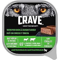 Crave Barquette en Terrine à l'agneau & au Bɶuf pour Chien 300g - Lot De 10