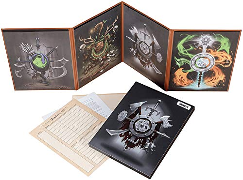 Hexers Game Master Screen - Dungeons and Dragons D&D DND DM Pathfinder RPG Role Playing Compatible - 4 Customizable Panels - Inserts Included That Slide into The Pouches - Dry Erase Tracker Sheet - Master Game Rpg