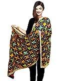#5: Weavers Villa® Punjabi Hand Embroidery Phulkari Faux Chiffon Black Dupatta, Stoles