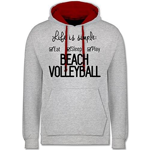 Volleyball - Life is simple Beachvolleyball - Kontrast Hoodie Grau Meliert/Rot