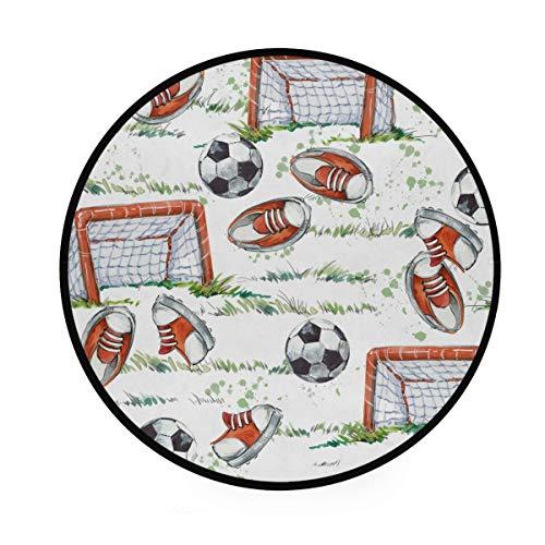 CPYang, Tappeto Sportivo con Scarpe da Calcio, Antiscivolo, Rotondo, per Soggiorno, Camera da Letto, corridoio, Decorazione per la casa, Diametro 92 cm