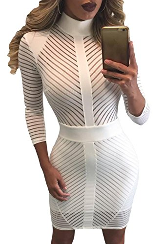 Color blanco Sheer Diagonal rayas vestido Club Wear fiesta Casual talla L UK 12 UE 40