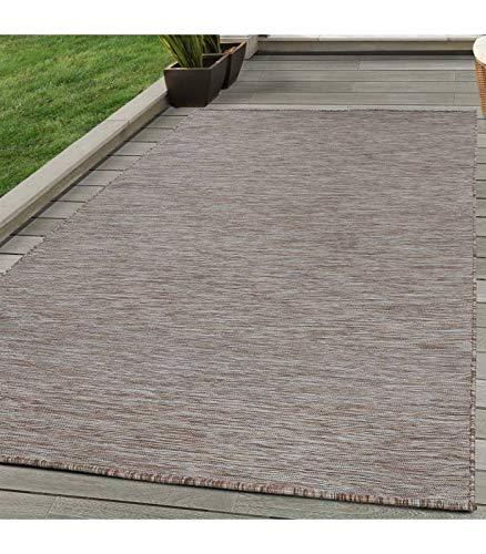Sisal Teppich Flachgewebe Terrassen Indoor Outdoor Melierung Braun Beige Creme - 160x230 cm -