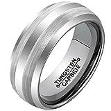 AMDXD Herren Ring Wolfram Stahl (mit Gratis Gravur) Runde 8MM Silber Ehering 65 (20.7)