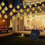Lichterkette Solar Aussen, Vegena Warmweiß LED Lichterkette Außen Kristall Kugel 12M 100 LEDs 8 Modi IP65 Wasserdicht für Garten Bäume...