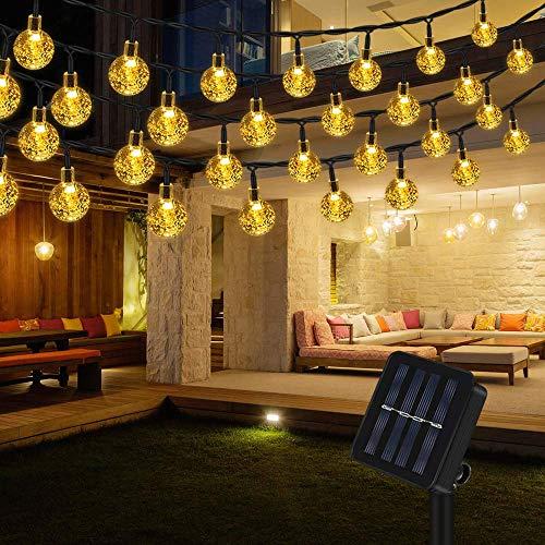 Lichterkette Solar Aussen, Vegena Warmweiß LED Lichterkette Außen Kristall Kugel 12M 100 LEDs 8 Modi IP65 Wasserdicht für Garten Bäume Terrasse Hof Haus Weihnachten Party Deko Energieklasse A+++