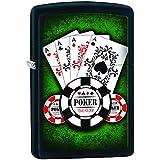 Zippo 60000575 Poker Aces Briquet Laiton Noir Mat 3,5 x 1 x 5,5 cm
