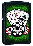 Zippo Poker Aces Mechero, Metal, Black Matte, 3.5x1x5.5 cm