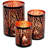 Nexplora Industries Decorative Tealight Candle Holder Set Of 3 (BLACK & GOLD)
