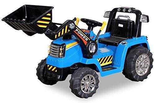 Kinder Elektrobagger mit 2 x 25 Watt Motoren Elektro Bagger Kinderauto Kinderfahrzeug Spielzeug für Kinder Kinderspielzeug (Blau) (Deere Elektro Traktor John)