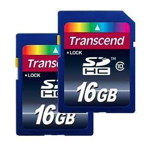Transcend Pack de 2 x 16 Go Cartes mémoire SDHC Classe 10 TS16GSDHC10X2E [Emballage « Déballer sans s'énerver par Amazon »]