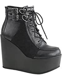 Demonia Damen Gothic Keil Booties Wedge Stiefeletten Poison-105 schwarz