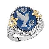 Oiseau Blanc Dove pigeon Bleu Cire Strass Fleur Bijoux Femme Cadeau de bague–Argent US 9