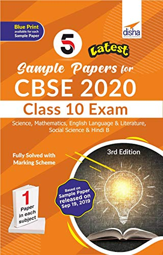 5 Latest Sample Papers for CBSE 2020 Class 10 Exam - Science, Mathematicss, English Language & Literature, Social Science & Hindi B - 3rd Edition