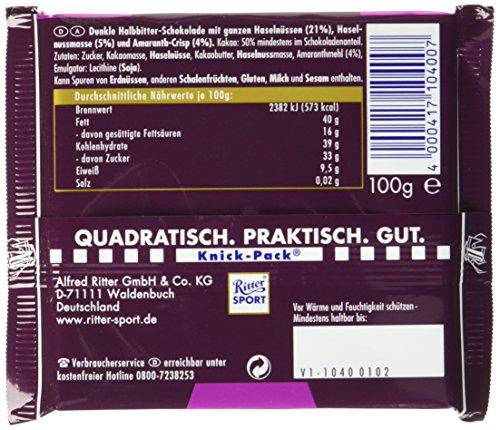 RITTER SPORT Dunkle Voll-Nuss Amaranth (10 x 100 g), Vegane Schokolade, mit ganzen Haselnüssen und Amaranth verfeinert, Halbbitterschokolade - 5