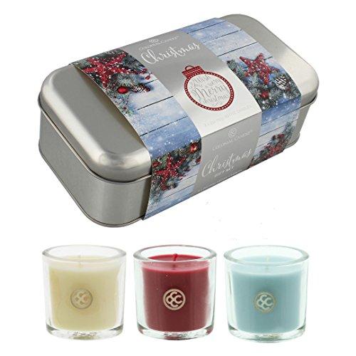 Kerze silber Votiv Glas Halter Colonial Candle Weihnachten Box Dose Geschenk-Set 3x 60