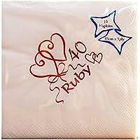 Confezione da 15 tovaglioli di carta per il 40° anniversario di matrimonio (anniversario di rubino, 16 cm x 16,5 cm-2653