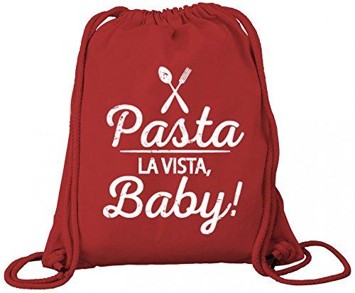 Kochen Koch Küchen Party Premium Bio Baumwoll Turnbeutel Rucksack Stanley Stella Pasta La Vista Baby, Größe: onesize,Red