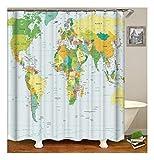 XIAOXINYUAN Karte Polyester Duschvorhang Digitaldruck Wasserdicht und Schimmel Bad Vorhang Dekoration Zubehör 150×180Cm