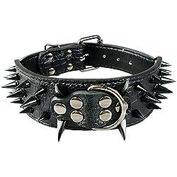 NBHUZEHUA - Collares de piel sintética para perros, tamaño mediano y grande, diseño de tachuelas, color bronce