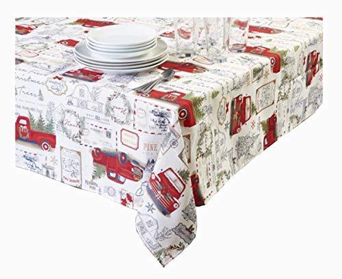 Winter Wonder Weihnachtstischdecke Rot Pickup Truck Print Texturierter Stoff für den Urlaub, Polyester, Ivory, Red, Green, Gold, Silver, Black, White, 52 x 70 Rectangle