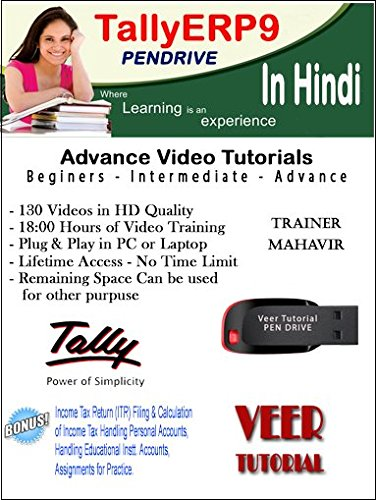 TallyERP9 Basic to Advance Course (1 Pendrive, 130 HD Videos, 19 Hrs) in Hindi