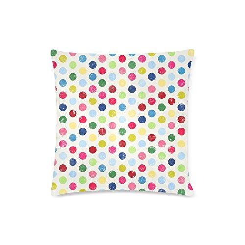 Satin Striped Button (Colorful Polka Dot Rechteck Sofa Home dekorativer Überwurf-Kissenbezug Baumwolle Polyester Twin Seite Druck 40,6x 40,6cm)