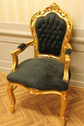 LouisXV Stuhl Barock Armlehner Sessel Vintage Antik Stil Rokoko Blatt Gold schwarz Samt/Velour antik...