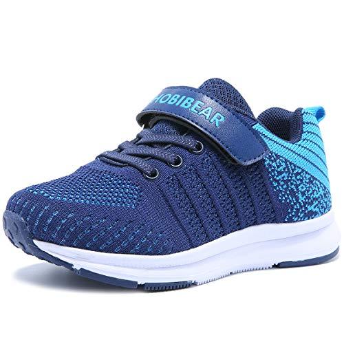 HOBlBEAR Hallenschuhe Kinder Turnschuhe Jungen Sport Schuhe Mädchen Kinderschuhe Sneaker Outdoor Laufschuhe für Unisex-Kinder, Blau, 30 EU