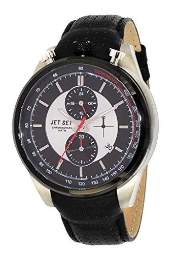 Jet Set - J11863-637 - Turin - Montre Homme - Quartz Chronographe - Cadran Noir - Bracelet Cuir Noir