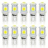 BeiLan T10 LED Bombillas W5W 168 194 2825 501 5SMD 5050 6000K LED Lámpara de reemplazo Blanco puro para lámparas de lectura de automóviles Placas de matrícula Lámparas (paquete de 10)