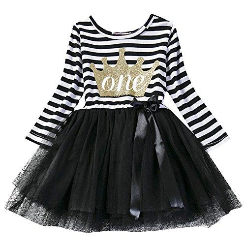 gs kleinkind Baby Mädchen Ist es Mein 1. / 2. / 3. Geburtstags Gestreiften Tüll Tütü Prinzessin Kleid mit Bowknot Partykleid Fotoshooting Outfits Kostüm Schwarz (Hübsches Halloween-kostüm)