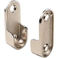 MATEE 2-Pack plata engrosamiento níquel chapado en aleación de zinc ropa soporte de la varilla final apoyo para armario