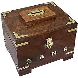 Banco de dinero de madera Hecha a Mano para niños y adultos