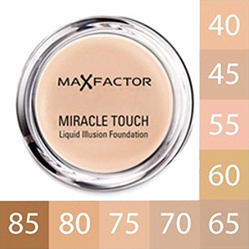 MAX FACTOR - Miracle Touch Face Foundation Make Up, Over 30 Different Cosmetic Shades & Pack Size Poducts To Choose From - (1 PACK, 60 SAND)