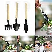 Gardening Wooden Handle 3-Piece Mini Garden Hand Tool Rake Spade Shovel For Seedling Planting Greenhouse Planting Kids Beach Toy