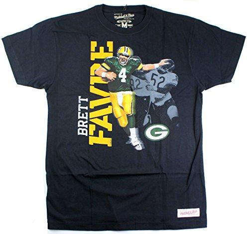 Mitchell & Ness Brett Favre Green Bay Packers # 4Herren Foto Echter Traditioneller T-Shirt, Herren, Schwarz, Medium