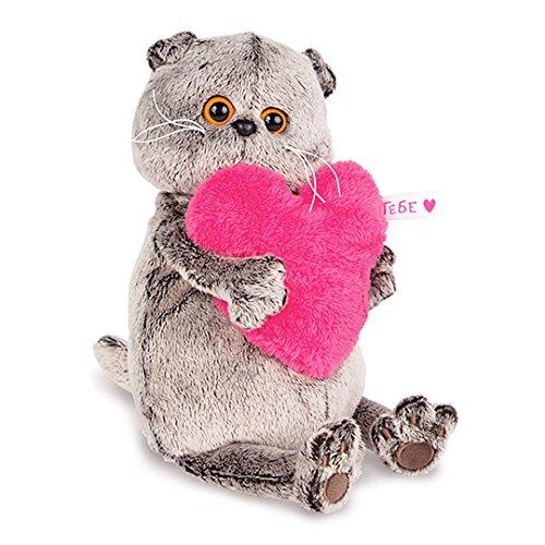 Plüschtier Katze Basik&Co – Mit Rosa Herz 25 cm von BudiBasa – Spielzeug für Kinder & Babys weiche Kuscheltiere und süße Stofftiere für Mädchen und Jungen ideal als Geschenk bester Spielfreund