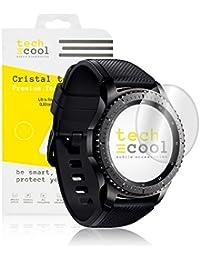 Samsung Gear S3 Protector de Pantalla I TechCool® Cristal Templado para Samsung Gear S3 I Vidrio Templado, Fijación Perfecta - Sin Burbujas I HD, Dureza 9H - Kit de Instalación Incluido