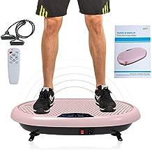 JUFIT Plateforme Vibrante Oscillante Machine Fitness avec Surface Enorme Télécommande et Sangles d Entraînement Ajustables,Or Rose