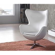 Sillon Giratorio de Alto Diseño EGG - Ecopelle Blanca