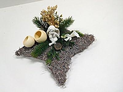 Grabgesteck Grabschmuck Allerheiligen Engel Stern eckig 28 x 28 creme weiß 7 von Ziegler auf Du und dein Garten