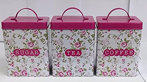 Pink Floral Retro Vintage StyleTea Coffee Sugar Canister Set - Shabby Chic