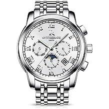 RORIOS Luxury Hombres Automático Mecánico Relojes de Pulsera Roman Number Business Acero Inoxidable Band Day Calendario