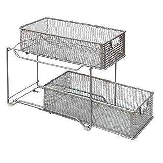 Amtido Panier coulissant 2étages Armoire Organiseur-Cuisine, armoire de salle de bain Organiseur-tiroirs sous lavabo-Argent