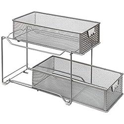 Amtido Panier de rangement coulissant à 2 niveaux pour placard de cuisine, salle de bain, tiroirs coulissants sous évier Argenté