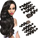 DAIMER Brazilian Body Wave Virgin Hair 3 Bundles and Closure 4x4 Lace Closure Frontal Extension for Cheap UK 14 16 18 +12 Inch